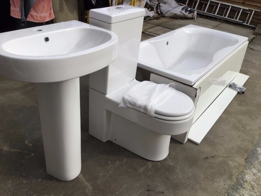 bargain ** full brand new bathroom set - bath, sink, toilet & mira