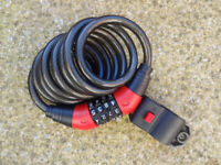 Combination Cable Lock for Bicycle - black, never used