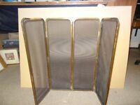 Brass & metal mesh fire screen