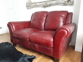 Wonderful brand new red leather sofa 2 seaters