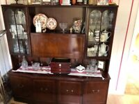 Solid Mahogany Kitchen Dining Dresser Sideboard with Drinks Display Cabinet Good Condition