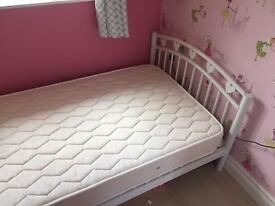 Girls white metal frame single bed with mattress