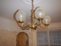 Brass ornate period ceiling light plus two wall lights
