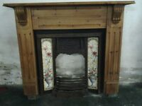 Fireplace with pine surround