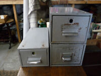3 Vintage Metal Industrial Office Index Filing Cabinet Storage Drawer