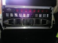 Crown XS 700 and Laney Concept power 1500 power amps for sale in flight cases