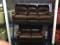 New/Ex Display LazyBoy Highland Leather 3 Seater + 2 Seater Recliner Sofas