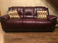 3 Seater Leather Sofa & 2 chairs