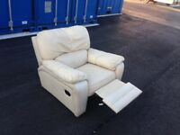 White leather reclinable armchair. FREE DELIVERY BRISTOL AREA