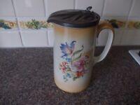 Vintage jug with metal lid very good condition
