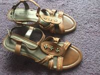 Brand new,Tan leather sandals, Mark Tozzi design, low heel 1 1/2 ins/ 4 cms, size 6/39, brand new