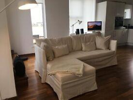 Corner sofa bed natural colour