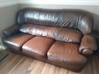 3 seater brown leather sofa with 2 armchairs.