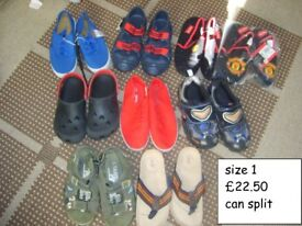 boys shoes bundle 1- size 1 prices on pictures £22.50 THE LOT