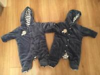 2 x Mothercare Snowsuits - Tiny Baby