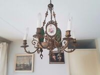 F.B.A.I. Italy - Electrified Brass 6-lights Chandelier + 3 Porcelain Plaques/Plaquettes (1966)