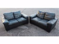 HOMEBASE 2 X TWO SEATER BLACK LEATHER SOFA SUITE GOOD CONDITION (I CAN DELIVER TODAY)
