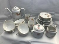 Vintage Japanese China Tea & Coffee Set with Lithopane of a Geisha in Each Cup