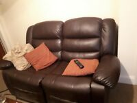 2x Leather 2 seater sofas