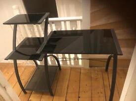 Study desk and combination shelf unit metal/glass