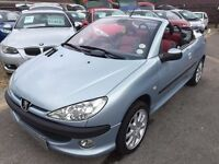 2002/02 PEUGEOT 206CC 2.0 16V SE,SILVER,RED/BLACK LEATHER SEATS,FOLDING ROOF,MOT,READY TO DRIVE AWAY