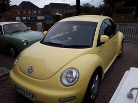 VW Beetle Canary Yellow, 2002, 2Ltr, Heated leather, MOT Aug 2018
