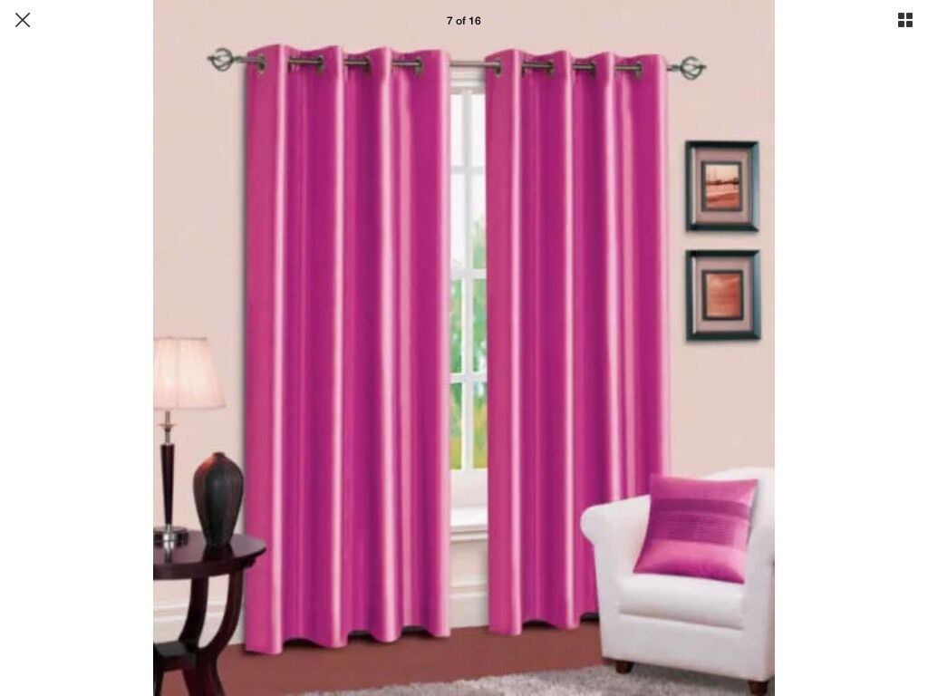 Fuschia/hot pink curtains and light shadein Leicester, LeicestershireGumtree - Free to collect hot pink faux silk curtains 66 wide 54 drop (will need a wash as been stored) and pink metal ceiling light shade. Pictures are not the exact items but show what they are. Collection is from Netherhall, no delivery