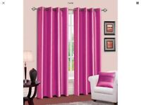 Fuschia/hot pink curtains and light shade