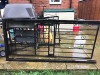 Security metal gate with frame and key