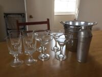 Cocktail set inc. glasses, shaker and ice bucket