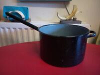 Vintage Rustic Kitchen Enamelled Cooking Pan
