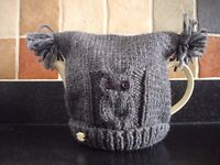Hand Knitted Chunky Owl Tea Cosy in Grey
