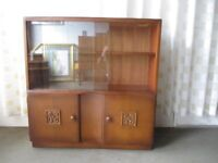 VINTAGE MAHOGANY VENEER GLAZED BOOKCASE WITH BASE CUPBOARD FREE DELIVERY
