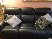 BLACK LEATHER 3/4 SEATER SOFA WITH RECLINING SEATS + 1 RECLINING MATCHING CHAIR
