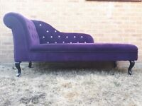Purple velvet lounge chair