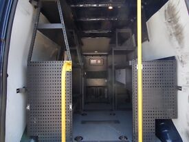 Tevo shelving removed from Ford Transit high roof van. Also have two orange beacons and bulkhead.