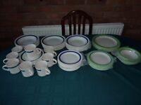 Assorted two tone crockery (57 pieces)