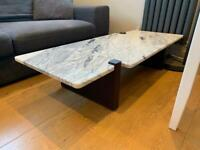 Designer real marble / wood coffee table