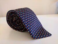 Thomas Pink | Mens' Luxury 100% Woven Silk Tie | Rectangle Pattern | Blue
