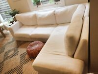 Custom made sofa with 3 different removable covers (white, grey, light navy green)