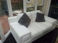 leather 2 seater settee with chair and footstool