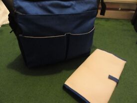 Mamas&papas blue changing bag with changing mat