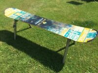 Snowboard Bench, Industrial Garden Breakfast Room Unique Up Cycled
