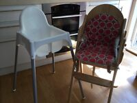 East Coast Highchair (with watermelon insert) and IKEA Antilop Highchair