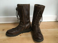 LADIES LONDON FLY LACE FRONT BROWN BOOTS SIZE 38