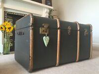 Vintage bentwood steamer trunk