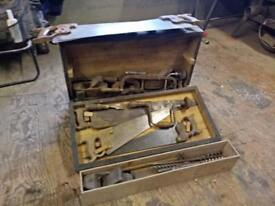Old carpenters tool kit in wooden chest