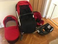 Mamas and Papas Urbo 2 Pram, Carrycot, Car seat with Isofix base
