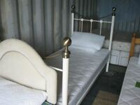 MODERN ORNATE WHITE METAL SINGLE BED WITH MATTRESS. IN GOOD ORDER. DISMANTLES. DELIVERY POSSIBLE