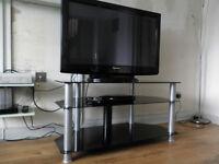 """Panasonic Viera 37"""" Plasma TV with Black glass Stand + remote and Manual"""
